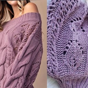 Sweaters - Purple Sweater, Cable Knit Sweater Puff Sleeve
